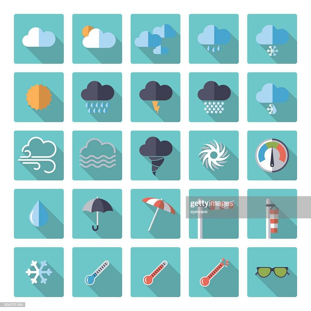 square weather flat design icon set