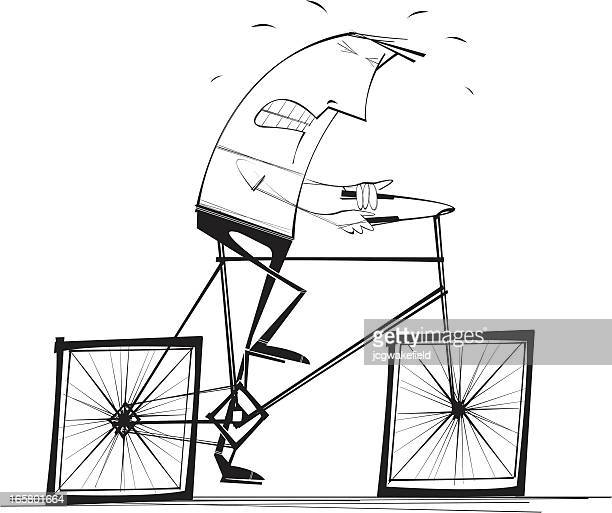 square wheeled bicyle - wheel stock illustrations, clip art, cartoons, & icons