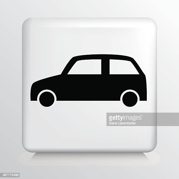 square white icon with car silhouette - compact car stock illustrations, clip art, cartoons, & icons