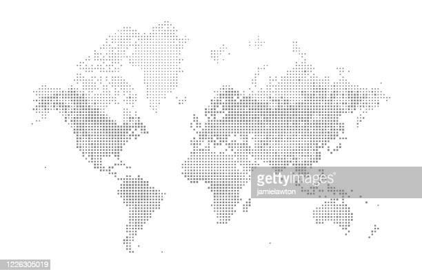 illustrazioni stock, clip art, cartoni animati e icone di tendenza di mappa del mondo quadrato - planisfero
