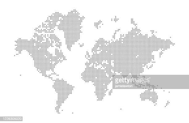 スクエアワールドマップ - グローバルコミュニケーション点のイラスト素材/クリップアート素材/マンガ素材/アイコン素材