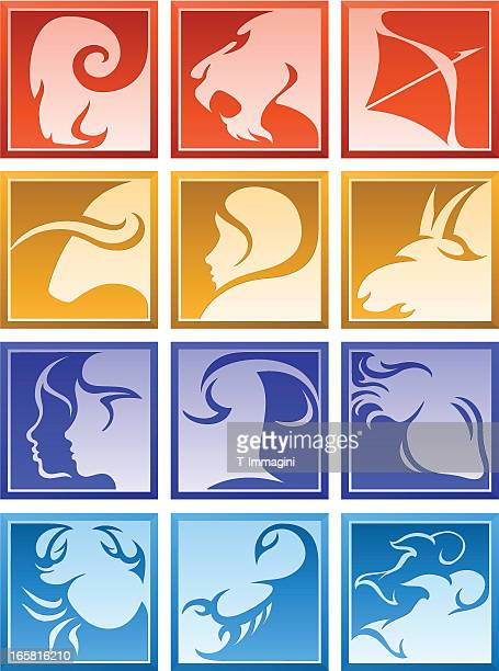 Square zodiac icon signs