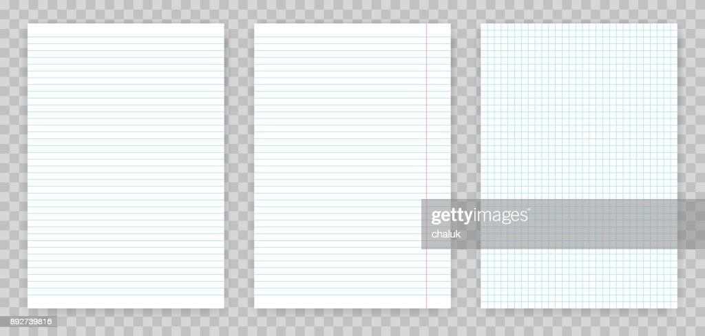 Squared and lined paper sheets of notebook or copybook. Vector realistic paper sheet of lines and squares notepad pages set isolated on transparent background