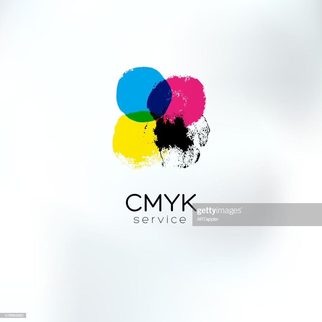 CMYK squared circlea drawing concept