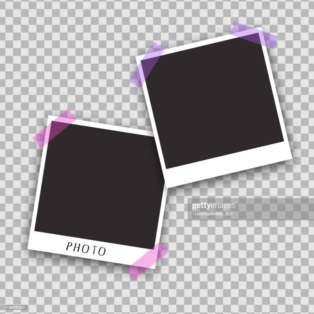 Squared photo template  isolated on transparent background. Instant photo trame for social net, documents, fun. Vector illustration