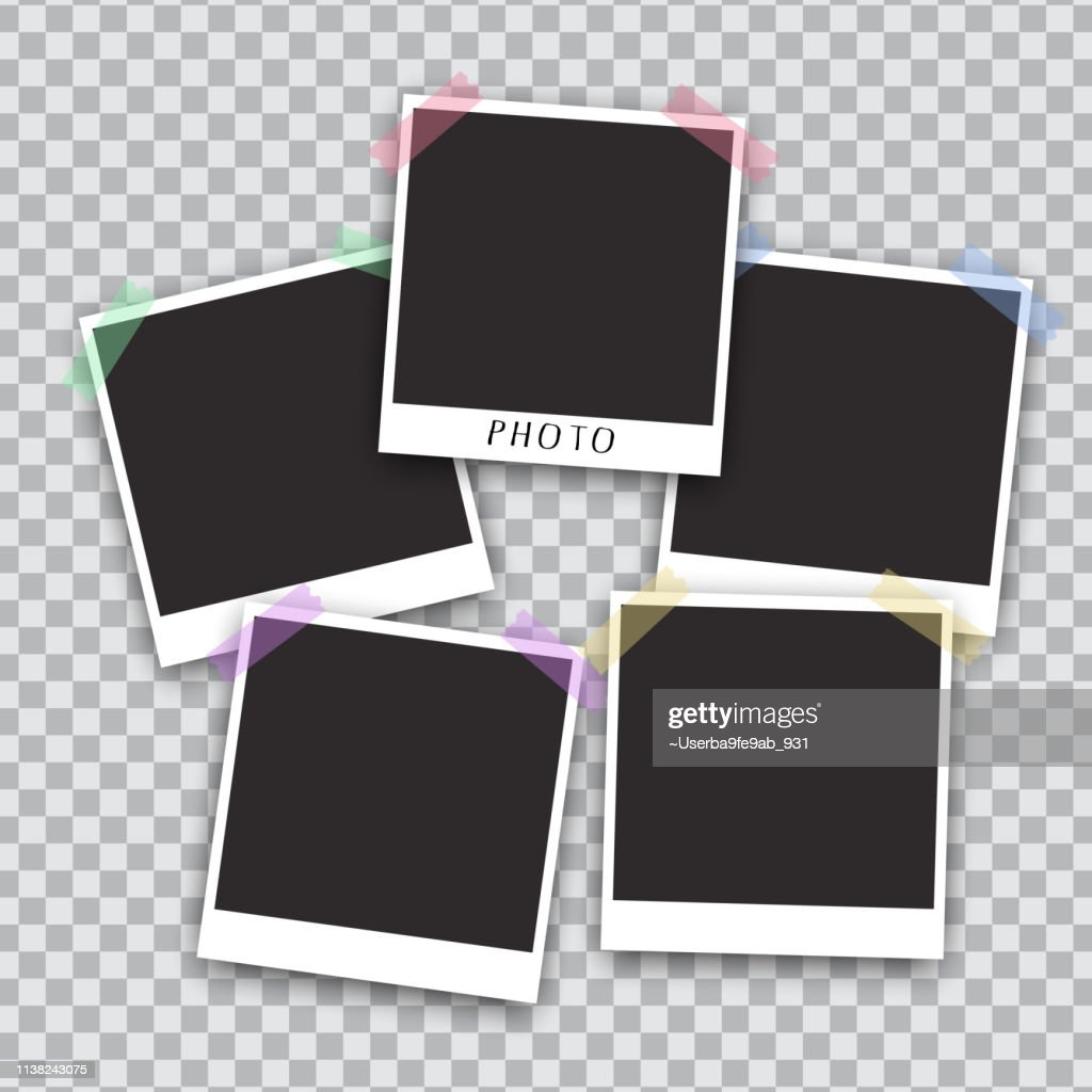 Squared photo template  isolated on transparent background. Instant photo frame for social net, documents, fun. Vector illustration