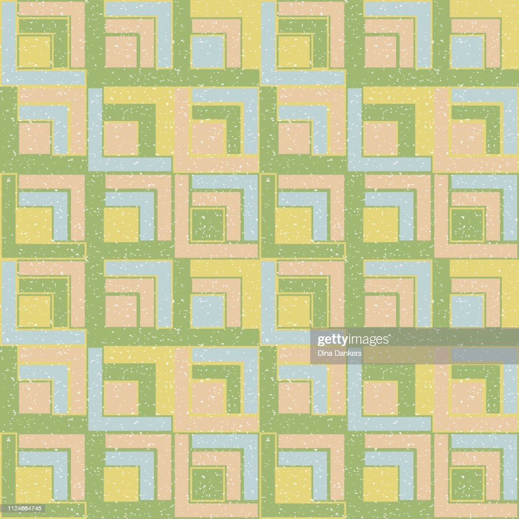 Squares and lines background. Vector seamless pattern in pastel colors with simple geometric shapes.