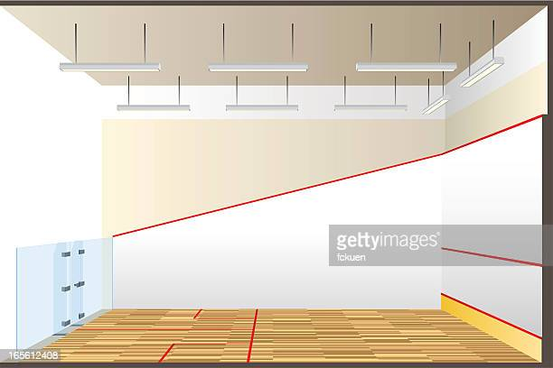 squash court  cross section - sports hall stock illustrations