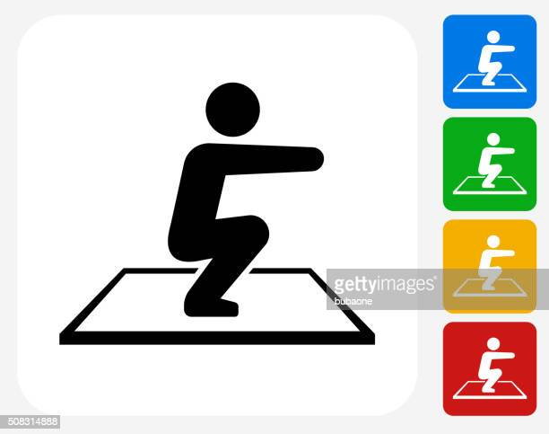 squat icon flat graphic design - crouching stock illustrations, clip art, cartoons, & icons