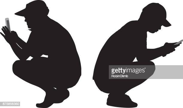 squatting couple looking at their smart phones - bending stock illustrations