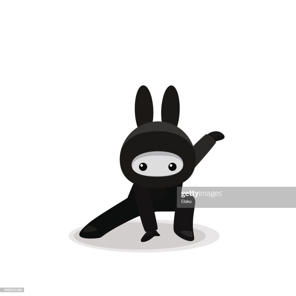 Squatting cute bunny ninja isolated on white background
