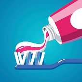 Squeezing tooth paste from a tube on a toothbrush