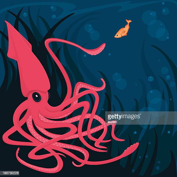 Squid and Curious Fish in the deep ocean.