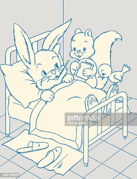 squirrel and bird tending to bunny sick in bed - blanket stock illustrations, clip art, cartoons, & icons