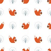 Squirrel and decorative tree seamless pattern on white background.