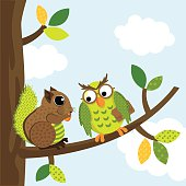 Squirrel and owl chatting