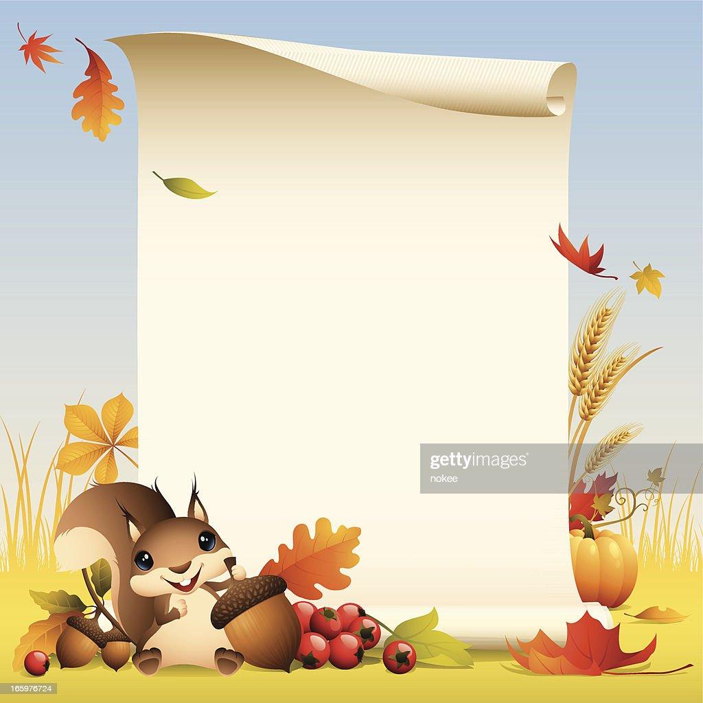 Squirrel - autumn scroll : stock illustration
