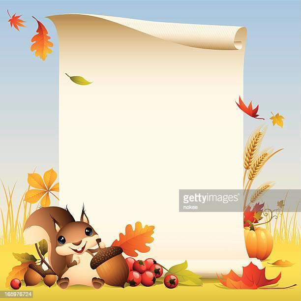 squirrel - autumn scroll - squirrel stock illustrations