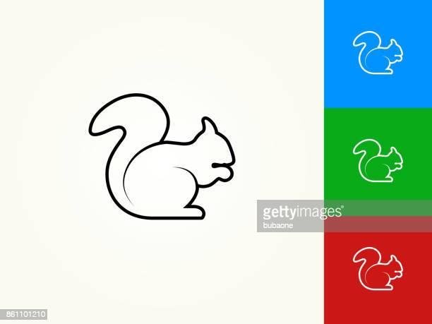 illustrations, cliparts, dessins animés et icônes de écureuil contour noir linéaire icône - écureuil