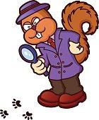 Squirrel Detective Investigating Cartoon