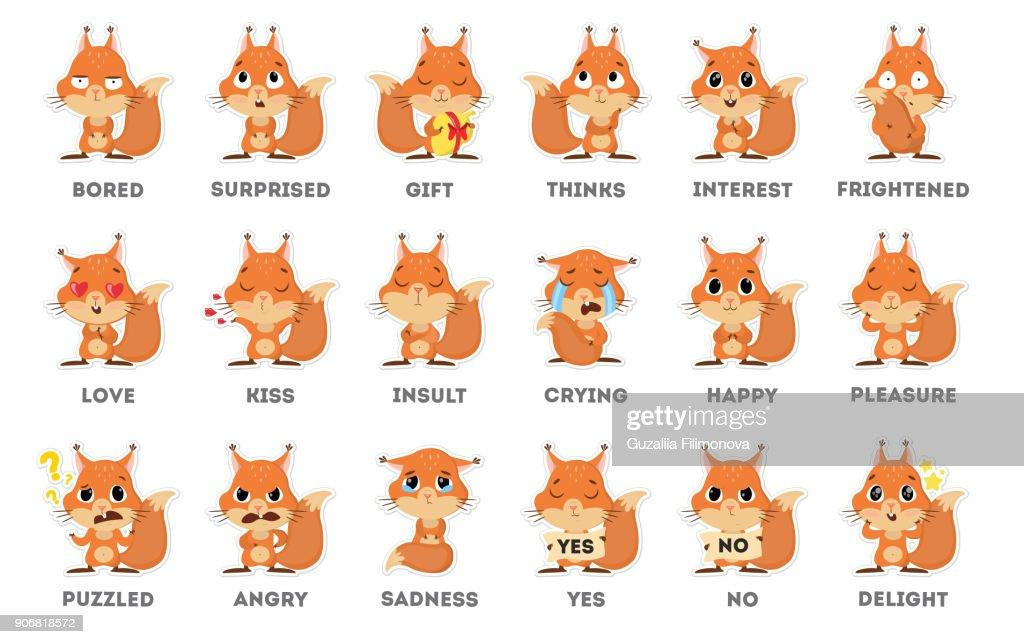 Squirrel emoji sticker set on white background.