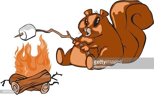 squirrel roasting marshmellows - chipmunk stock illustrations