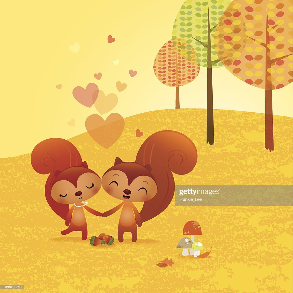 Squirrels in love : stock illustration