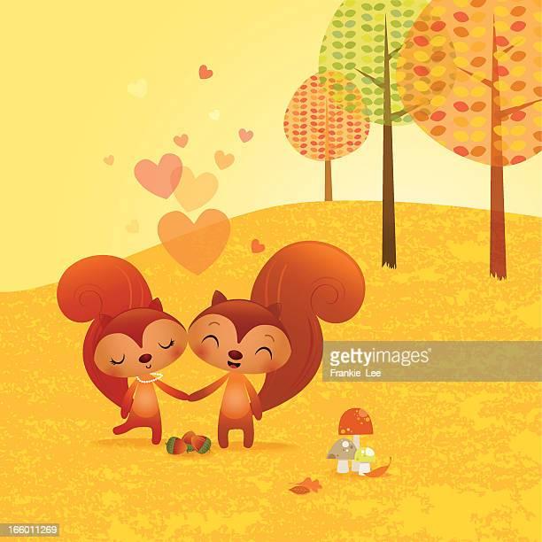 squirrels in love - squirrel stock illustrations