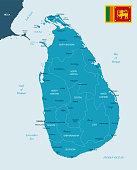 Sri Lanka - map and flag - Detailed Vector Illustration