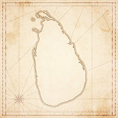 Sri Lanka map in retro vintage style - old textured paper