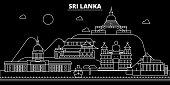 Sri Lanka silhouette skyline, vector city, sri lankan linear architecture, buildings. Sri Lanka line travel illustration, landmarkflat icon, sri lankan outline design banner