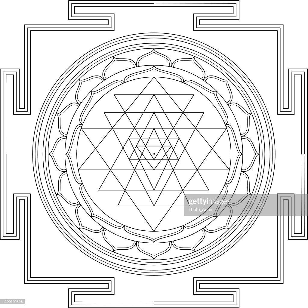 tibet stock illustrations and cartoons Lhasa Tibet sri yantra mandala construction line drawing