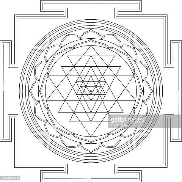 illustrations, cliparts, dessins animés et icônes de sri yantra mandala (construction et ligne dessin) - chakra