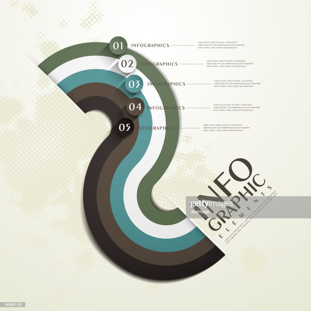 s-shaped paper flow chart infographic elements
