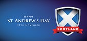 St Andrew Day Scotland flag shield banner or poster