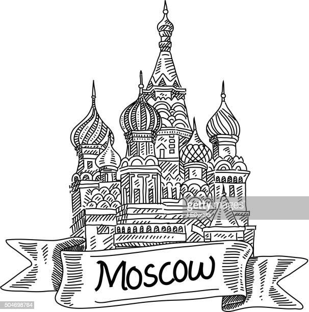 st. basil cathedral, drawing - red square stock illustrations, clip art, cartoons, & icons