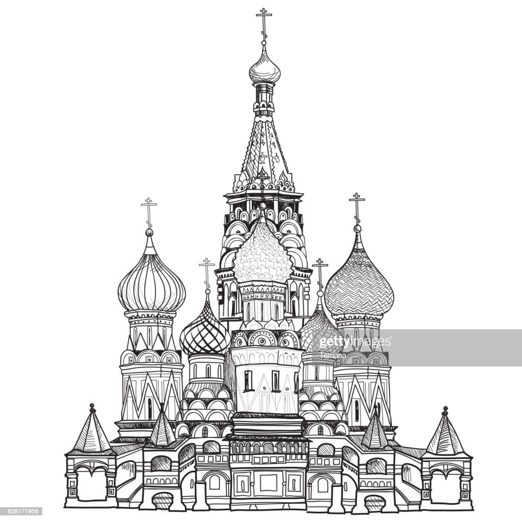 St Basil cathedral, Moscow city famous place. Travel Russia sign