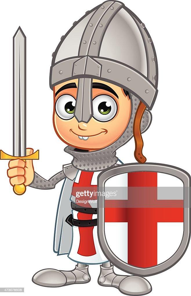 St George Boy Knight - Holding Shield & Sword