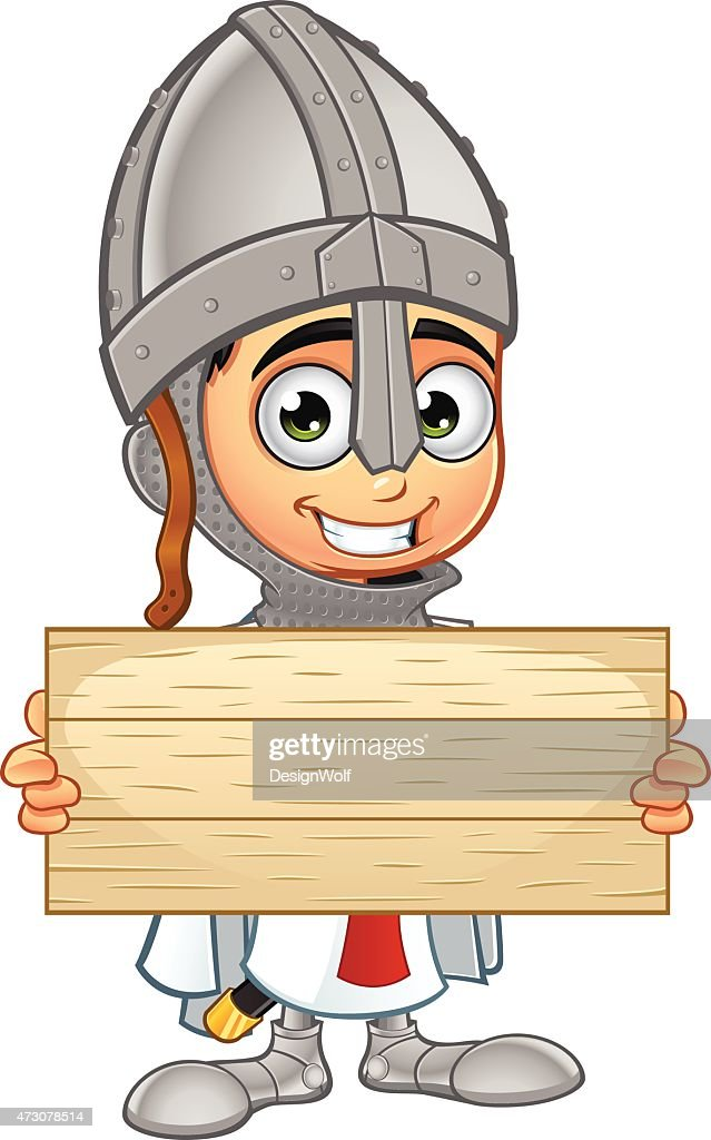 St George Boy Knight - Holding Wooden Sign