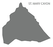 St. Mary Cayon map grey illustration silhouette shape