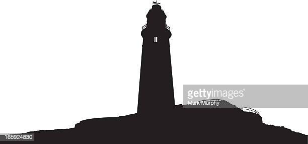 st mary's lighthouse in silhouette - northeastern england stock illustrations, clip art, cartoons, & icons