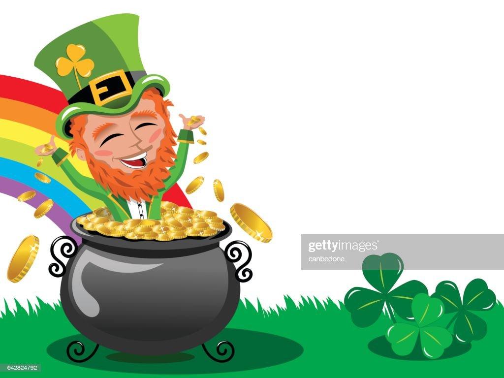 St Patrick or Saint Patrick s exulting inside pot of gold frame isolated