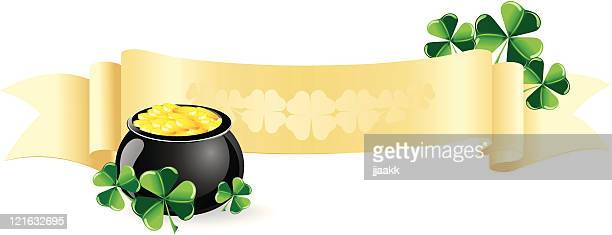 st. patrick's banner - celtic music stock illustrations, clip art, cartoons, & icons