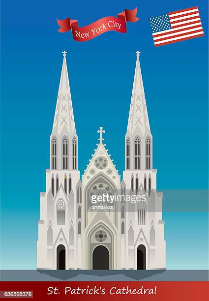 st. patrick's catedral - st. patrick's cathedral manhattan stock illustrations, clip art, cartoons, & icons