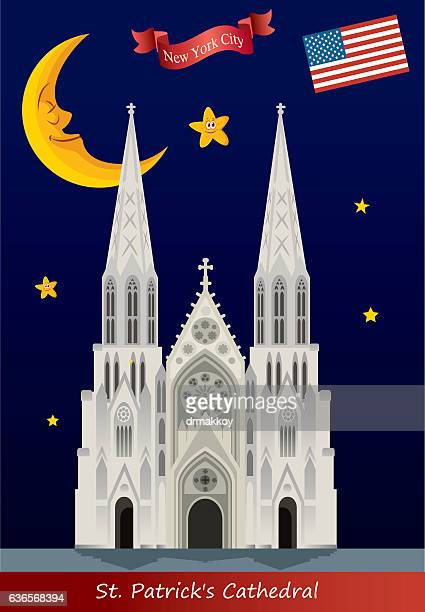 st patrick's cathedral - st. patrick's cathedral manhattan stock illustrations, clip art, cartoons, & icons