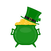 St Patrick's cauldron with gold and green hat