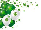 St Patricks day background design of clover leaves and balloon with copy space vector illustration
