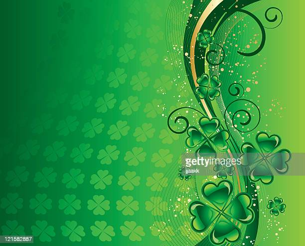 st. patricks day background with shamrocks - celtic music stock illustrations, clip art, cartoons, & icons