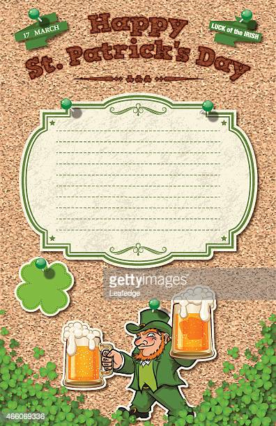 st. patrick's day background[leprechaun and beer] - lager stock illustrations, clip art, cartoons, & icons