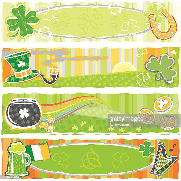 st. patrick's day banners - celtic music stock illustrations, clip art, cartoons, & icons
